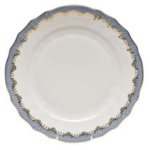 White-Pollnow Herend Fishscale Dinner Plate, Light Blue