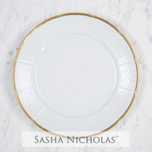 White-Dunlap Weave Simply White 24K Gold Dinner Plate