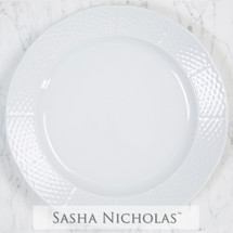 "Sasha Nicholas Weave 12"" dinner with 10 3/4 dinner and salad plate Basketweave Wedding Gift Registry Basketweave"