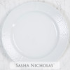 A beautiful addition to your dinnerware collection and to adorn your tablescapes with. It makes the perfect gift for your wedding registry and has the option to include an inscription on back. Choose from their signature font styles or use a custom monogram or crest of your choice! | Sasha Nicholas's white porcelain weave charger