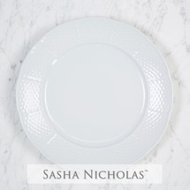 Sasha Nicholas  White Porcelain Dinnerware Plate Dish Charger Wedding Registry Bridal  Dishes Tabletop Dinner