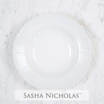 Sasha Nicholas Soup Rimmed Dinnerware Dishes Plate Wedding Registry Gift Basketweave Dish Porcelain European Custom
