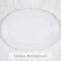 Sasha Nicholas Dinnerware Dishes Oval Platter Serving Entertaining Wedding Registry Gift Basketweave Porcelain European Custom