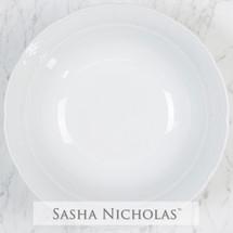 Sasha Nicholas Monogram Monogrammed Dinnerware Gift Wedding Registry Bridal Custom Porcelain White Dishes Serving Large bowl