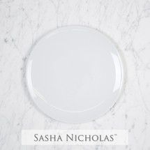 Sasha Nicholas Coup Contemporary Porcelain  Imagine salad Plate Dish Monogram monogrammed custom  Wedding Bridal Gift Registry