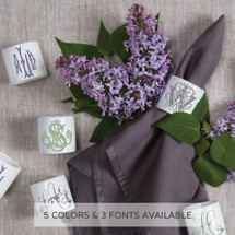 A beautiful addition to adorn your tablescapes with when entertaining and to your dinnerware collection. They make the perfect small gift for your wedding registry. Choose from their signature font styles or use a custom monogram or crest of your choice. | Sasha Nicholas's white porcelain napkin rings
