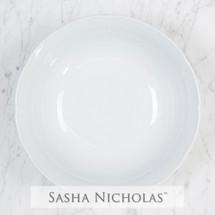 Sasha Nicholas serve serving bowl weave basketweave whiteware monogrammed custom  Wedding Bridal Gift Registry porcelain european