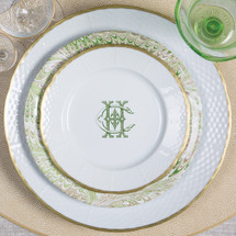 Sasha Nicholas custom dinnerware monogram crest monogrammed Wedding registry bridal gift heraldry design service basketweave weave