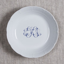 NAEGELI-KEEFE WEDDING WEAVE MONOGRAMMED CEREAL BOWL WITH NAVY 3 LETTER SCRIPT EKC