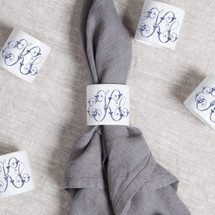 NAEGELI-KEEFE WEDDING NAPKIN RING MONOGRAMMED WITH NAVY 3 LETTER SCRIPT EKC