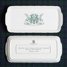 A beautiful addition to your dinnerware collection and to adorn your tablescapes with. It makes the perfect gift for the holidays with the included inscription on back. The pine green stag crest is a holiday classic. | Sasha Nicholas's white porcelain hostess platter