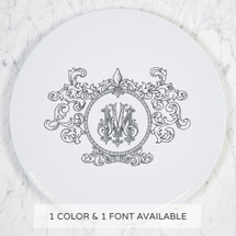 Monogram monogrammed dinner plate wedding registry bridal gift tabletop tablescape fleur de lis dishes china crest Sasha Nicholas