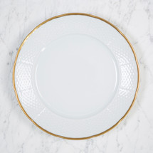 CLOTE-WOOD WEAVE SIMPLY WHITE 24K GOLD DINNER PLATE