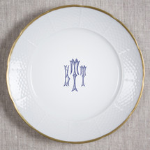 "GILBRIDE-TEAGUE WEDDING MONOGRAMMED WEAVE 12"" DINNER/CHARGER 24K GOLD RIMMED"