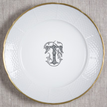 "MANKEY-THOMPSON WEDDING MONOGRAMMED WEAVE 12"" DINNER/CHARGER 24K GOLD RIMMED"