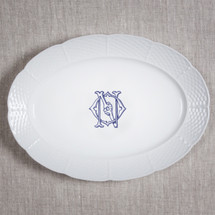 ANDERSON-O'NEIL WEDDING WEAVE MONOGRAMMED OVAL PLATTER WITH HANDWRITTEN BACK INSCRIPTION