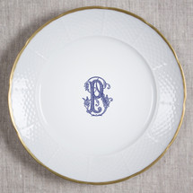 "BYRNES-PFLUGER WEDDING MONOGRAMMED WEAVE 12"" DINNER/CHARGER 24K GOLD RIMMED"