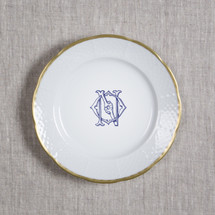 ANDERSON-O'NEIL WEDDING MONOGRAMMED WEAVE GOLD RIMMED SALAD PLATE