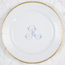 "MORLEY-RYAN WEDDING MONOGRAMMED WEAVE 12"" DINNER/CHARGER 24K GOLD RIMMED"