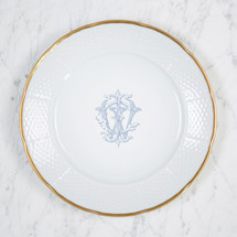 "HICKEY-WILSON MONOGRAMMED WEAVE 12"" DINNER/CHARGER 24K GOLD RIMMED"