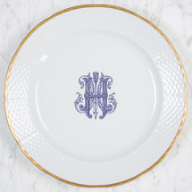 "CIAPCIAK-HUGHES WEDDING MONOGRAMMED WEAVE 12"" DINNER/CHARGER 24K GOLD RIMMED"
