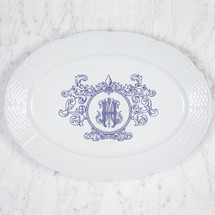 "CIAPCIAK-HUGHES WEDDING MONOGRAMMED WEAVE 14"" OVAL PLATTER WITH FLEUR DE LIS CREST"