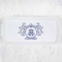 CIAPCIAK-HUGHES WEDDING MONOGRAMMED WEAVE RECTANGLE PLATTER WITH FLEUR DE LIS CREST