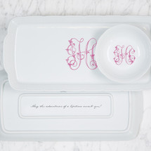 CIAPCIAK-HUGHES WEDDING WEAVE RECTANGLE HOSTESS PLATTER + PETTE BOWL GIFT SET
