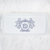 FRANZ-DANIELS WEDDING WEAVE RECTANGLE PLATTER WITH FLEUR DE LIS CREST