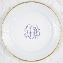 "FRANZ-DANIELS WEDDING MONOGRAMMED WEAVE 12"" DINNER/CHARGER 24K GOLD RIMMED"
