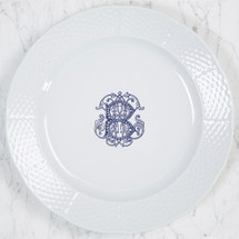 "HESSE-BROOKS WEDDING MONOGRAMMED WEAVE 12"" DINNER/CHARGER"