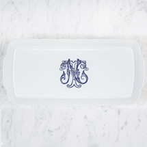 HESSE-BROOKS WEDDING MONOGRAMMED WEAVE RECTANGLE PLATTER