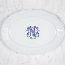 HESSE-BROOKS WEDDING MONOGRAMMED WEAVE OVAL PLATTER