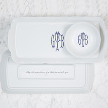 HAMBRIGHT-TIPPER WEDDING WEAVE RECTANGLE HOSTESS PLATTER + PETTE BOWL GIFT SET