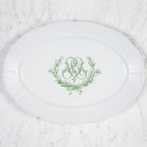 GORE-GALLUZZO  WEDDING MONOGRAMMED WEAVE OVAL PLATTER