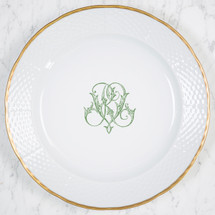 "GORE-GALLUZZO WEDDING MONOGRAMMED WEAVE 12"" DINNER/CHARGER 24K GOLD RIMMED"