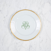 GORE-GALLUZZO WEDDING MONOGRAMMED WEAVE SALAD - 24K GOLD RIMMED