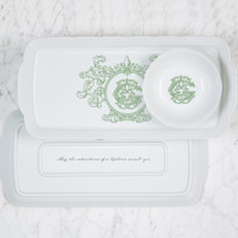 GORE-GALLUZZO WEDDING WEAVE RECTANGLE HOSTESS PLATTER + PETITE BOWL GIFT SET