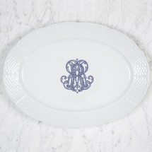 PRESSON-REYNOLDS WEDDING MONOGRAMMED WEAVE OVAL PLATTER