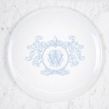 SCHLAFLY-WRIGHT WEDDING IMAGINE FLEUR DE LIS CREST MONOGRAMMED DINNER PLATE