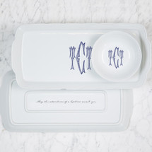 ARSALA-CARLSON WEDDING WEAVE RECTANGLE HOSTESS PLATTER + PETTE BOWL GIFT SET