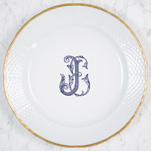 LYONS-SANDERS WEDDING WEAVE 24K GOLD CHARGER WITH MONOGRAM