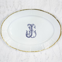LYONS-SANDERS WEDDING WEAVE 24K GOLD OVAL PLATTER WITH MONOGRAM