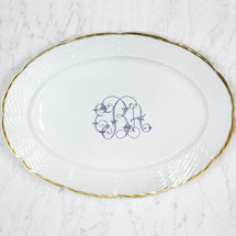 ALLEN-BISHOP WEDDING WEAVE 24K GOLD OVAL PLATTER WITH MONOGRAM