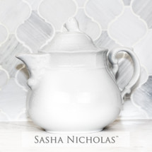 Sasha Nicholas European Porcelain Teapot Weave Basketweave Wedding Bridal Gift Registry Entertain Serveware White