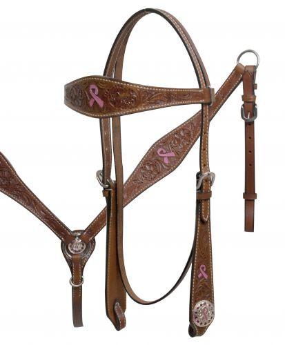 Barrel Saddle Set Pink Ribbon Engraved Silver w/ Headstall & Breastcollar