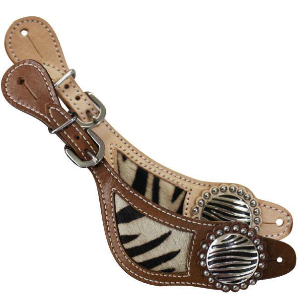 Showman Ladies Zebra Hair on Design Spur Straps! Silver Conchos! Silver  Beading
