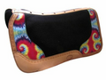 "Showman Argentina cow leather saddle pad with tie dye overlay. This pad features blended 1"" felt bottom and a barbed wire tooled Argentina cow leather trim and wear leathers. Vented leather back trim for more air flow and is contoured to fit your horse's back. Measures 32"" x 31"""