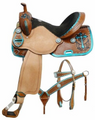 "14"",15"", 16"" Barrel Saddle Set w/ Metallic Teal Painted Cross!"