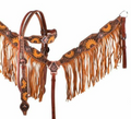 "Showman Hand Painted Sunflower Browband Headstall and Breastcollar Set with Fringe. This set features a medium colored leather with hand painted sunflowers throughout and a antiqued basketweave background. Breastcollar has mustard suede leather fringe and whole set is accented with copper conchos. Set comes complete with 5/8"" x 7' split leather reins. FREE SHIPPING TO USA!  All others pay actual cost of shipping   THANK YOU!"